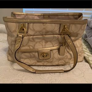 Gold and Cream Coach Purse - Authentic